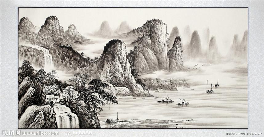 国画的山水画基本画法--画树法